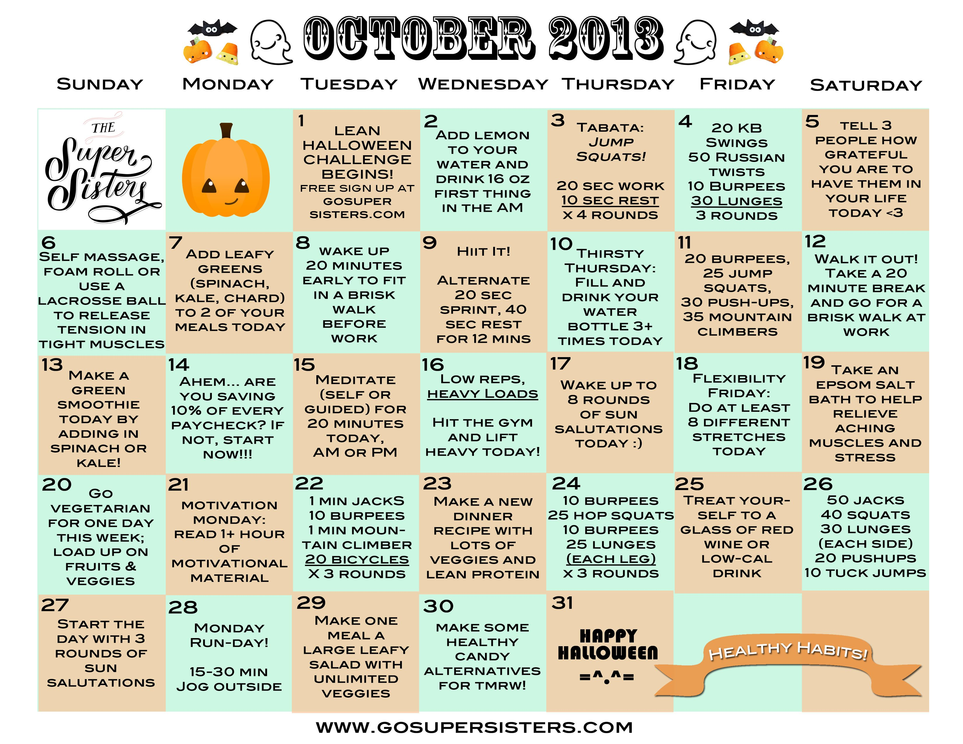 October 2013 Healthy Habits Calendar